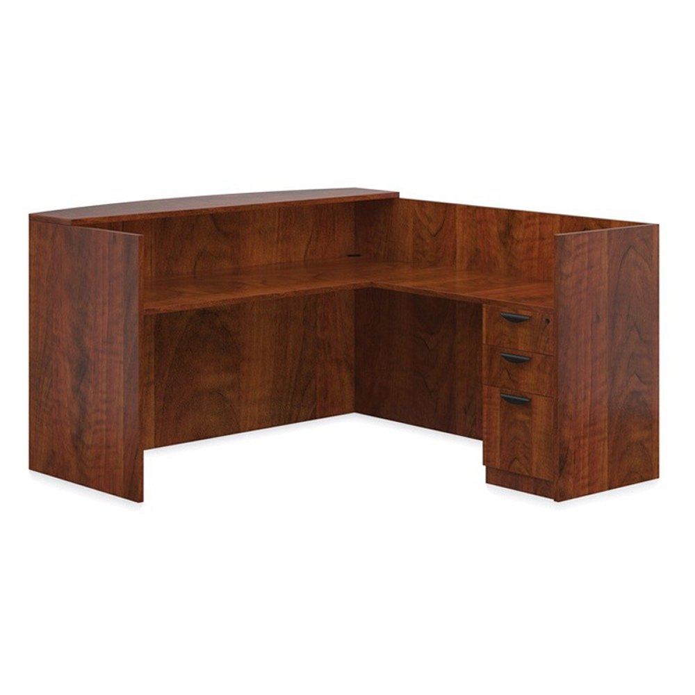 """Offices to Go 71"""" W L-Shaped Reception Desk with Pedestal"""