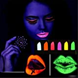 New Glow in the Dark Lipstick for Bars Halloween Party Cosplay Makeup Cosmetic Waterproof Soft Lip Cream (Pink) (Color: Pink)