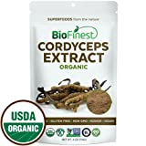 Biofinest Cordyceps Sinensis Mushroom Extract Powder - 100% Freeze-Dried Superfood - USDA Organic Vegan Raw Non-GMO - Boost Stamina Immunity - for Smoothie Beverage Blend (4 oz Resealable Bag) (Tamaño: 4  Ounces)