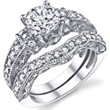 1.25 Carat Solid Sterling Silver Wedding Engagement Ring Set, Bridal Ring, with Cubic Zirconia Sizes 4 to11