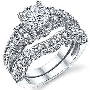 1.25 Carat Solid Sterling Silver Wedding Engagement Ring Set, Bridal Ring, with Cubic Zirconia Size 8