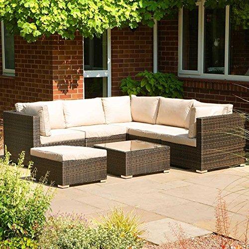 London Chelsea Outdoor garden Furniture Brown Corner Sofa Set