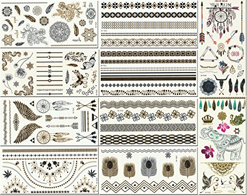10-premium-sheets-of-metallic-gold-silver-turquoise-and-multi-color-temporary-flash-tattoos-for-wome