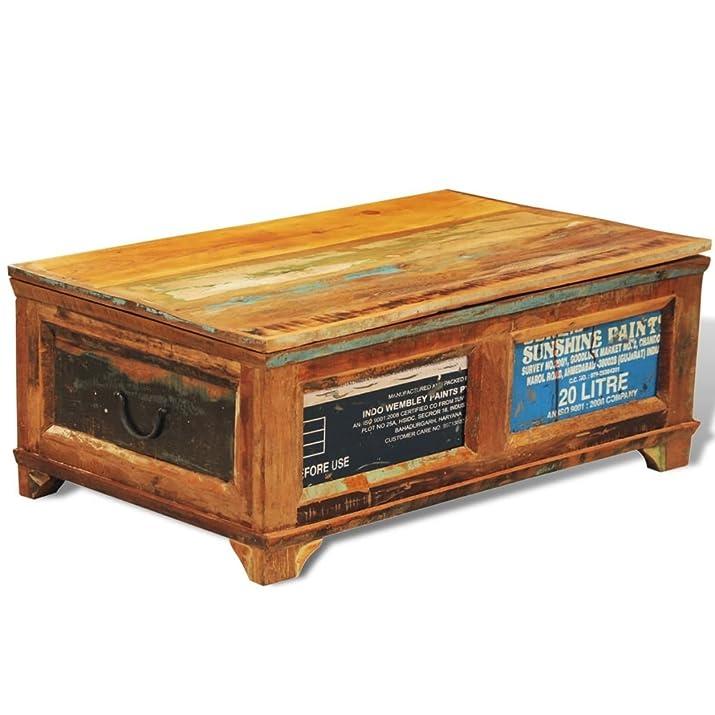 vidaXL Tavolino caffè con cassetto in legno anticato stile antico Vintage