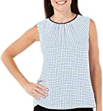 Jones New York Women's Classics Framed Gathered Neckline Sleeveless Top