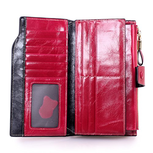 03. Itslife Women's Large Capacity Luxury Wax Genuine Leather Wallet with Zipper Pocket