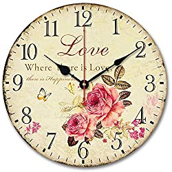 Usmile® 12 Vintage Sweet Rose sing for love style Wooden Wall Clocks Decorative wall clocks Retro wall clocks large wall clocks