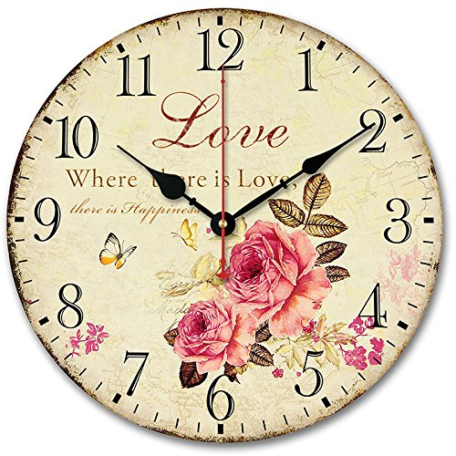 "Usmile® 12"" Vintage Sweet Rose sing for love style Wooden Wall Clocks Decorative wall clocks Retro wall clocks large wall clocks"