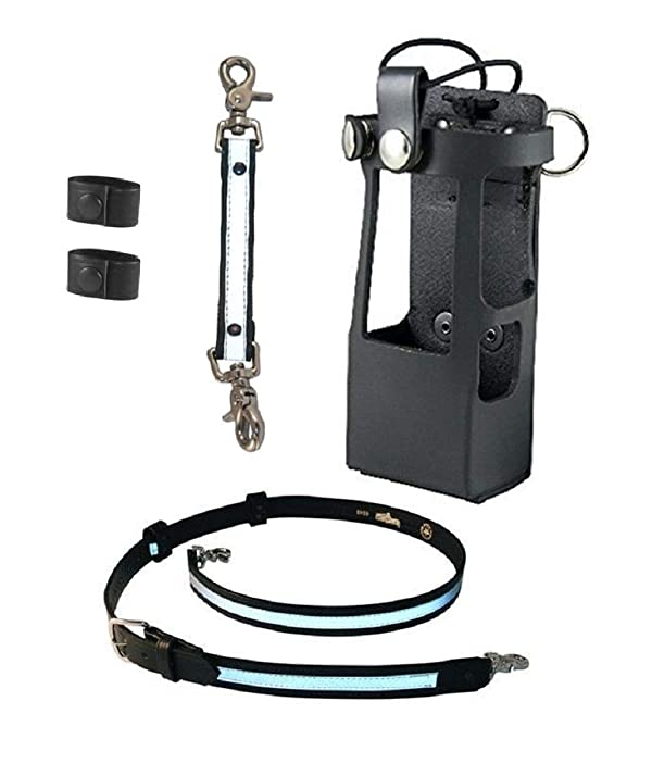 Boston Leather Bundle Three Items- Anti-Sway Strap for Radio Strap, Firefighter's Radio Strap/Belt, Firefighter's Radio Holder (for Motorola APX 6000XE/8000) (Reflective) (Color: Reflective)