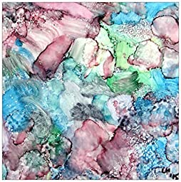Original abstract art in alcohol ink on ceramic tile titles \
