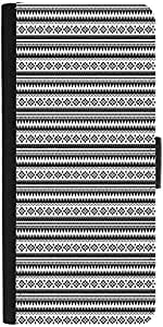 Snoogg Aztec Black And White Graphic Snap On Hard Back Leather + Pc Flip Cove...