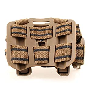 LIVIQILY Tactical Glock Leg Holster Right Hand Paddle Thigh Belt Drop Pistol Gun Holster w/Magazine Torch Pouch for 1911 Glock 17 19 22 23 31 32 (Tan-1) (Color: Tan-1)