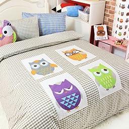 Cliab Home Textile Owl Bedding Boys Bedding Owl Applique Duvet Cover Twin/full/queen Size 100% Cotton 4pcs (Full)