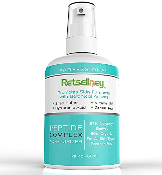 Retseliney Peptide Complex Moisturizer Cream to Boost Collagen with Vegan Hyaluronic Acid, Shea Butter & Green Tea, Organic & Natural, Best Anti Aging Anti Wrinkle Lotion for Skin Face