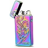 USB Rechargeable Lighter Electronic Plasma Pulse Cigar Lighter Windproof Arc Flameless Double Arc Cigarette Lighter Dragon Eagle Scorpion Phoenix Embossed Pattern (Phoenix-Flame) (Color: Phoenix-Flame)