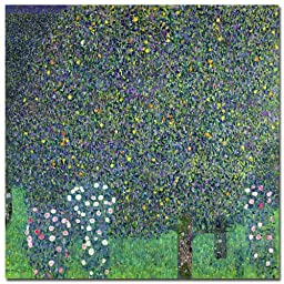 Trademark Fine Art Roses Under the Trees 1905 by Gustav Klimt Canvas Wall Art, 35x35-Inch