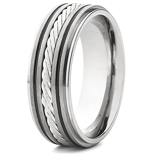 Crucible Titanium Band With Sterling Silver Lattice Pattern Rope Inlay Ring
