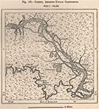Loreto, Amazon/Yavari (Javari) confluence. Peru, 1885 antique map