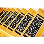 "Gloria Rug Skid-Resistant Rubber Backing Gripper Non-Slip Carpet Stair Treads - Washable Stair Mat Area Rug (SET OF 7), 8.5"" x 26"", Navy Blue Floral Design"