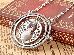 Full-Link Harry Potter Hermione Granger Time Turner Necklace Pendant Hourglass (Silver/White)