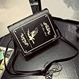 2016 Personality Book Shaped Lolita Ladies Gothic Bag Women Messenger Bags Crossbody Shoulder Bags sac femme bolsa feminina (Black)
