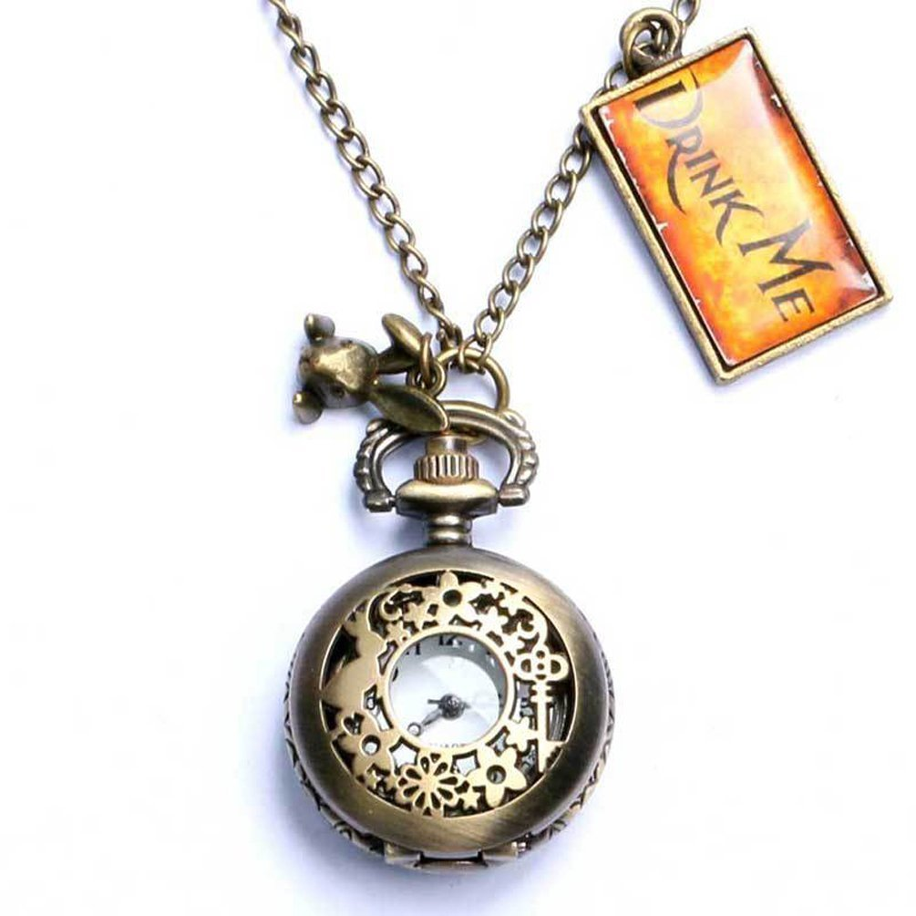 Uarter Vintage Drink Me Pocket Watch Quartz Watch Alice in Wonderland Rabbit