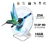 iOneSky 3D Hologram Fan Display Projector Protable Advertising Digital Holographic Fan Display Photo and 512P HD Video Advertising Projector Fan For Shops Office Business Home and Entertainment 12inch (Color: Transparent and black)
