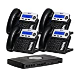 X16, Small Office Phone System with 4 Charcoal X16 Telephones - Auto Attendant, Voicemail, Caller ID, Paging & Intercom (Color: Charcoal, Tamaño: One Size)