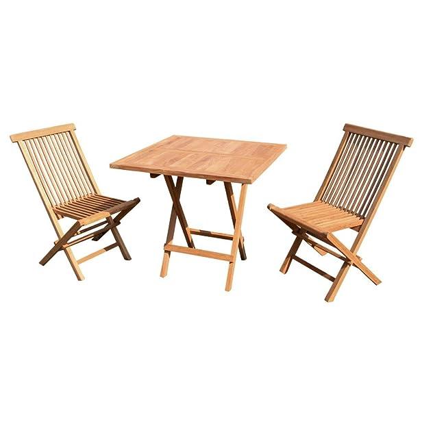 Teak legno balcone set PZ. 1tavolo pieghevole, 2Sedie Pieghevoli, 75%, REALIZZATA A MANO 25%, ofengetrocknet, in produzione da piantagioni Bau