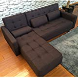 (OSJ)ソファー カウチソファ 3人掛け (Brown) ローソファー ソファベッド sofa ランバーサポート3個付き 背もたれ多段階調整