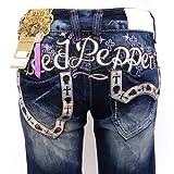 [レッドペッパージーンズ]REDPEPPERJEANS 正規品#5678-1 クロス刺繍バックロゴスカル模様セミバギーレディース RED PEPPER JEANS デニム パンツ ジーパン ブランドジーンズ