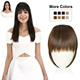 REECHO Fashion One Piece Clip in Hair Bangs/Fringe / Hair Extensions Color: Medium Warm Brown (Color: Medium Warm Brown (Former Name- Light Brown), Tamaño: Full Length Bangs)