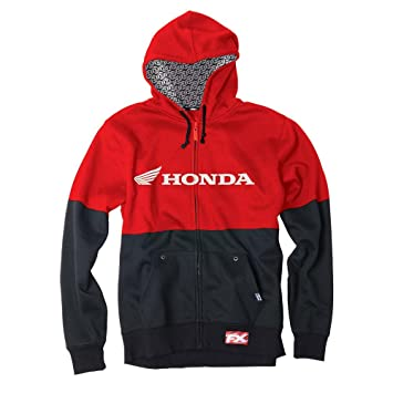 Factory Effex 'Honda' Double Hooded Zip-up Sweatshirt (Black/Red, Large)