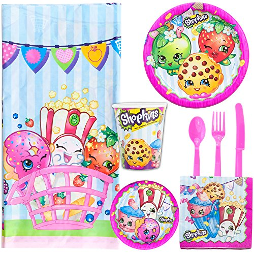 Shopkin Party Supply Kit Serves 8 | Lunch Plates, Dessert Plates, Napkins, Cups, Forks, Spoons, Knives and Tablecloth.