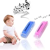 Koogel 2 PCS Colorful Translucent Children Harmonica,10 Hole Harmonica(Blue,Pink) (Color: Pink Blue)