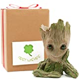 Groot Pencil Holder for Desk with Greeting Card, Groot Gifts for Kids, Baby Groot Flowerpot Kids Gift, Planter Pot Groot Gifts Toys Dolls Groot Pen Pot, Grut Flower Pot Treeman Baby Groot by Sgift (Color: Groot Best Wish)