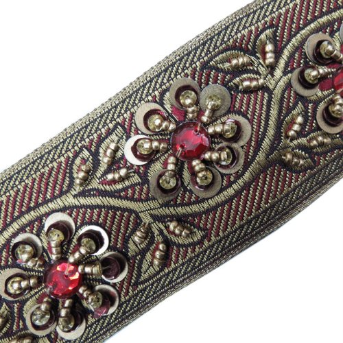 Hand Beaded Sequin Maroon Stone Ribbon Trim Craft 1 Yard