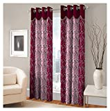 FASHIONFAB 2 Piece Polyester Long Door Curtain - 9ft, Maroon
