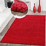 Shaggy-Teppich-Hochflor-Langflor-Teppiche-Wohnzimmer-Preishammer-versch-Farben-FarberotGre60x100-cm