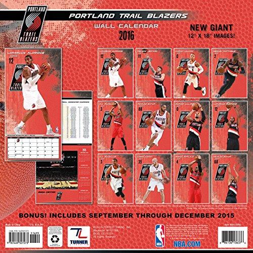Turner Portland Trail Blazers 2016 Team Wall Calendar