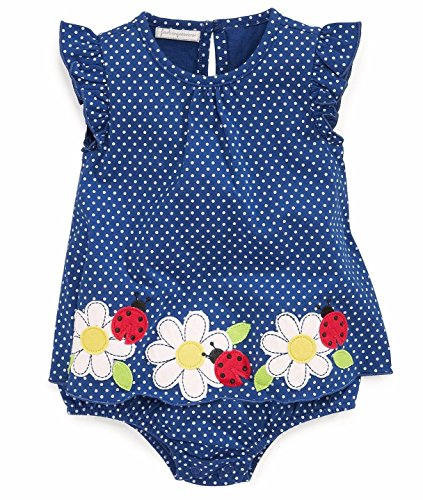 First Impressions Baby Girls Blue Flowers & Ladybugs Sunsuit Romper
