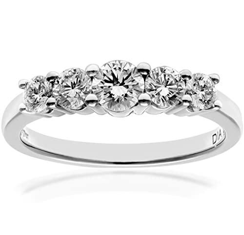 Naava 18ct 5 stone Eternity Ring, IJ/I Certified Diamonds, Round Brilliant, 1.00ct