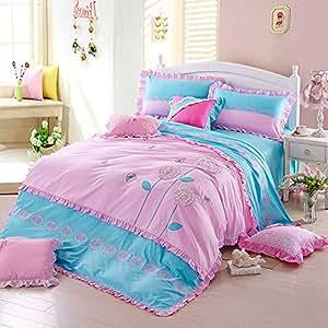flower story blue bedding girls bedding princess bedding teen bedding full size. Black Bedroom Furniture Sets. Home Design Ideas