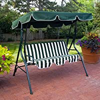 Coral Coast Tortuga Cay 2 Person Striped Adjustable Tilt Canopy Metal Swing (Dark Green)