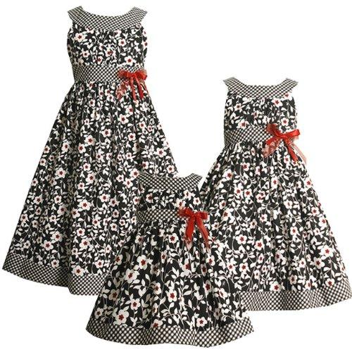 426497f38b8d Bonnie Jean LITTLE GIRLS 4-6X BLACK WHITE U-NECK MIXED FLORAL and ...