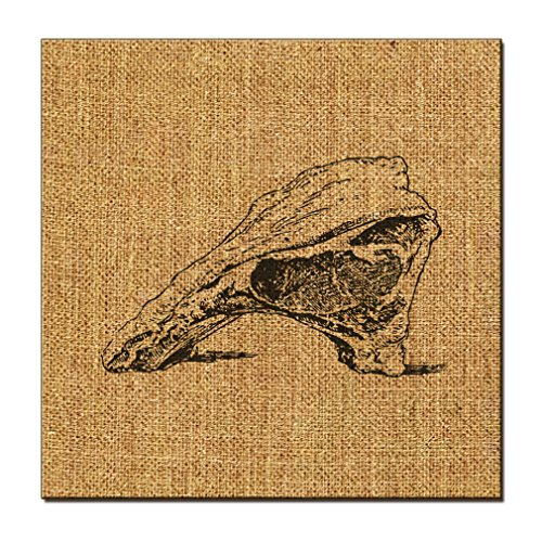 Prime Rib Of Beef Vintage Look Jute Stretched Natural Burlap Canvas Picture 12 in x 12 in