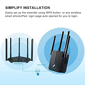 WiFi Range Extender, AC1200 Dual Band Mini WiFi Repeater, Wi-Fi Signal Booster, Wireless Access Point with 4 Ethernet Antennas, Extending WiFi to Whole Home and Garden