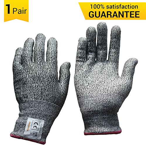 MOPOLIS Cut Resistant Gloves - Full Cut Protection - Level 5, Food Grade, Knife Hand Protection, Safety Cutting Gloves, EN388 Certified, Dyneema, Large, 1 Pair (Wheel Throwing Machine compare prices)