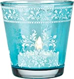 Luna Bazaar Flower Design Hand Painted Glass Candle Holder (2.25-Inch, Turquoise Blue)
