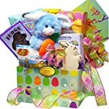 Easter Bunny Care Package Gift Box of Chocolate and Candy Treats with Plush Rabbit (Select Pink or Blue)